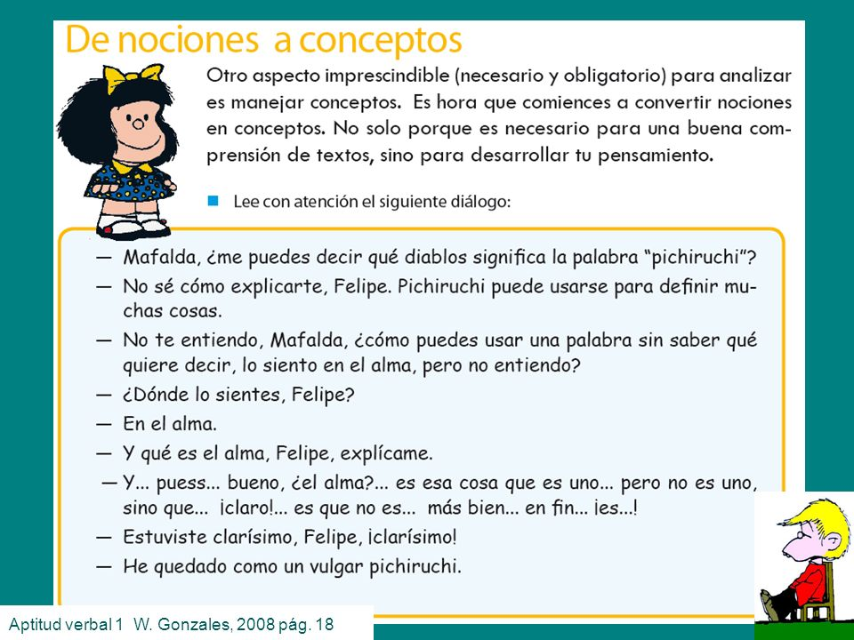 Conceptos Aptitud verbal 1 W. Gonzales, 2008 pág. 18