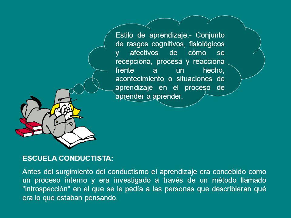 Estilo de aprendizaje:- Conjunto de rasgos cognitivos, fisiológicos y afectivos de cómo se recepciona, procesa y reacciona frente a un hecho, acontecimiento o situaciones de aprendizaje en el proceso de aprender a aprender.