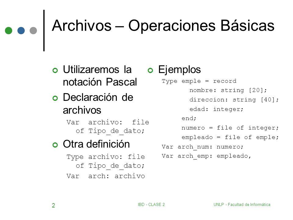Archivos – Operaciones Básicas