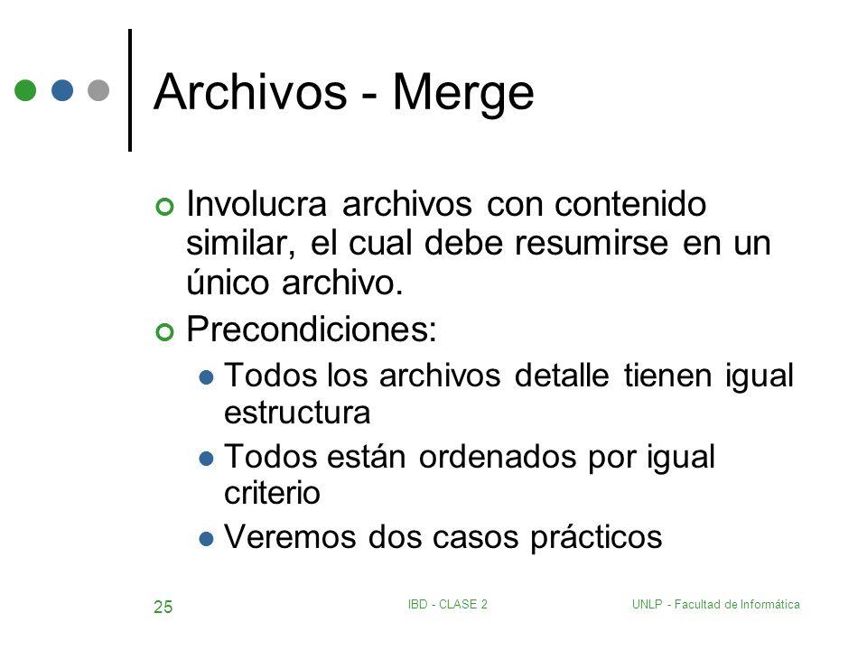 Archivos - Merge Involucra archivos con contenido similar, el cual debe resumirse en un único archivo.