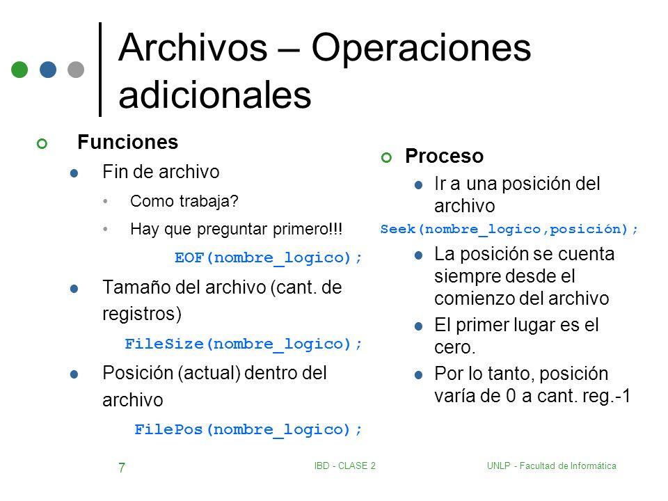 Archivos – Operaciones adicionales