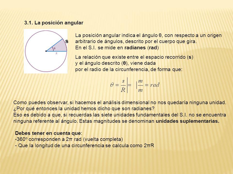 3.1. La posición angularLa posición angular indica el ángulo θ, con respecto a un origen. arbitrario de ángulos, descrito por el cuerpo que gira.