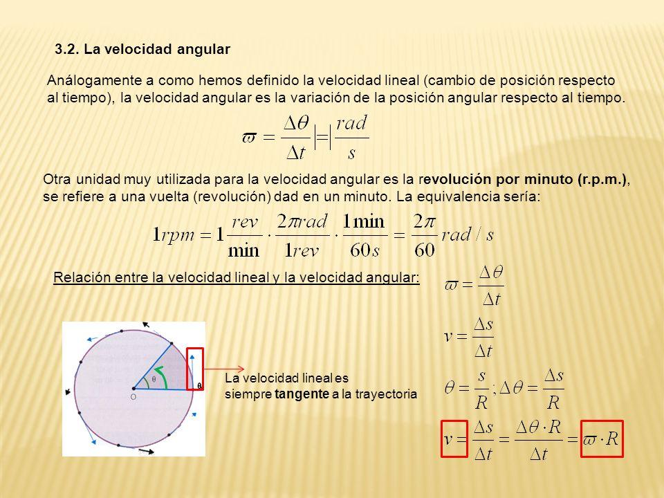 Relación entre la velocidad lineal y la velocidad angular: