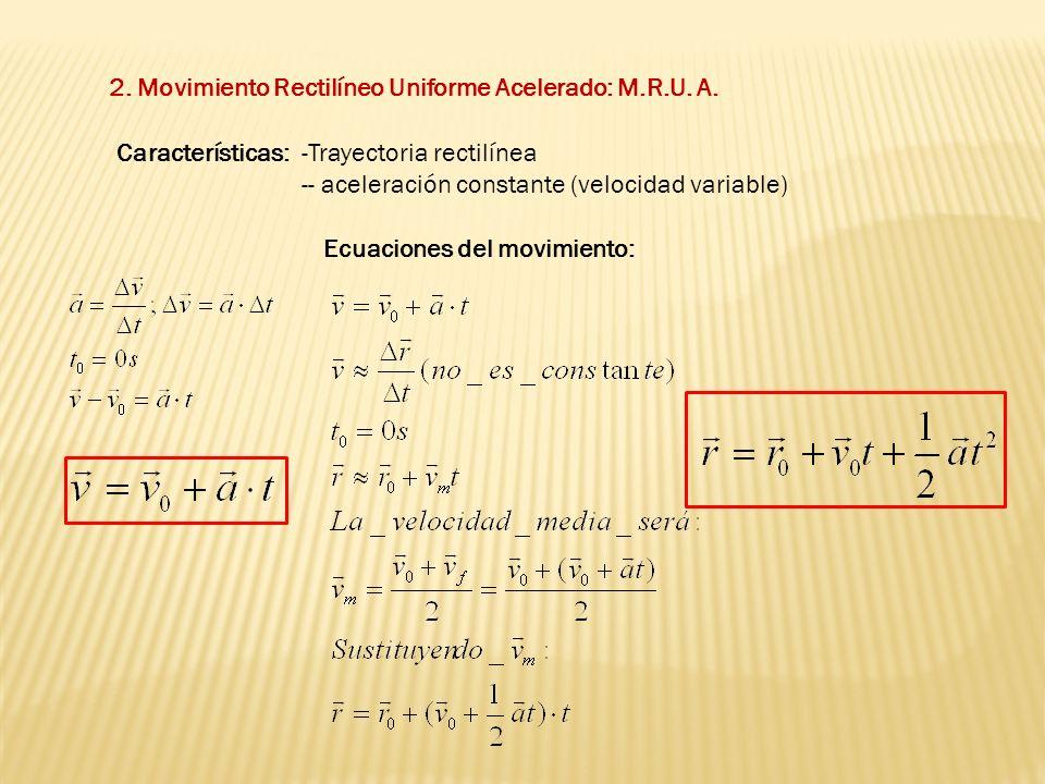 2. Movimiento Rectilíneo Uniforme Acelerado: M.R.U. A.
