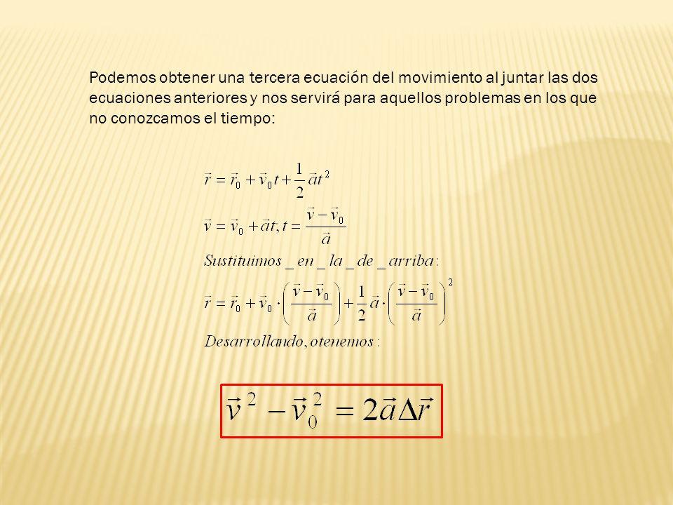 Podemos obtener una tercera ecuación del movimiento al juntar las dos