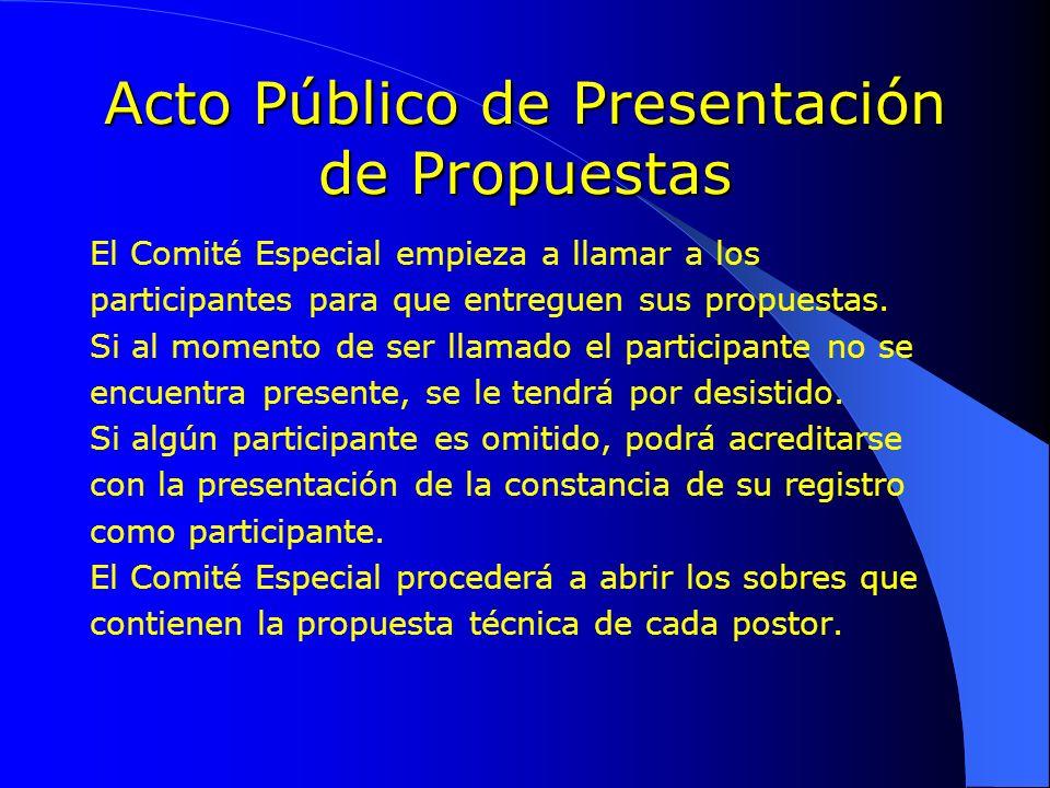 Acto Público de Presentación de Propuestas
