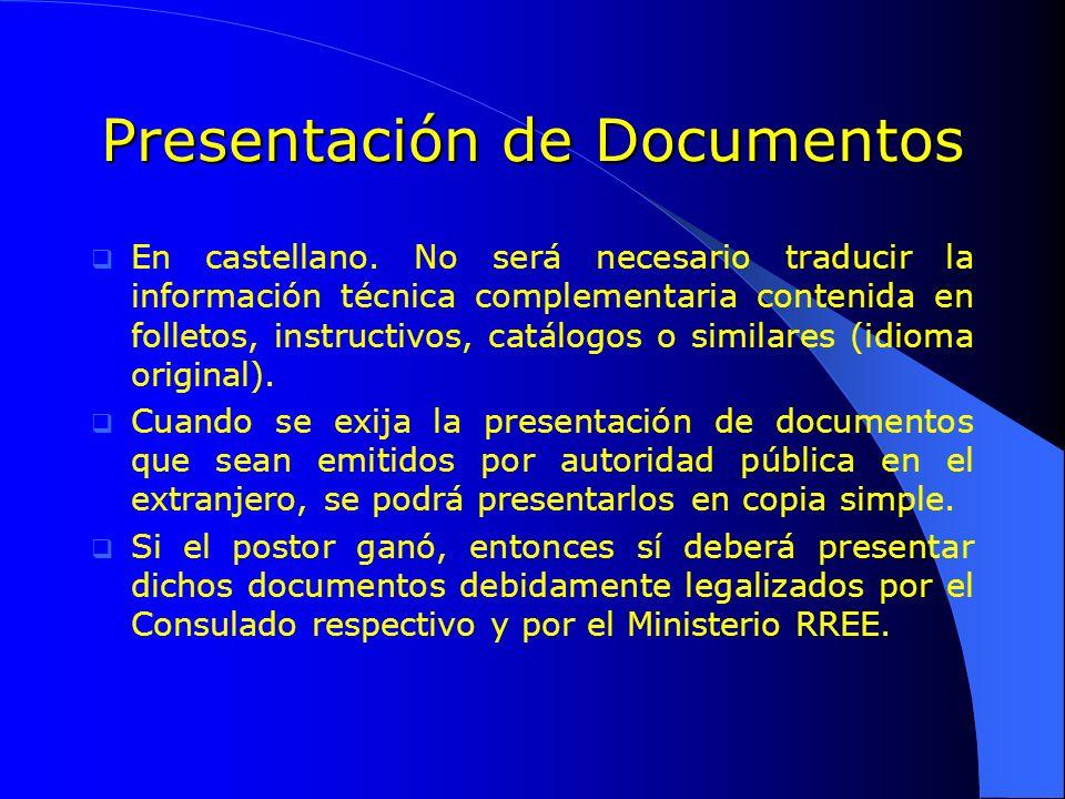 Presentación de Documentos