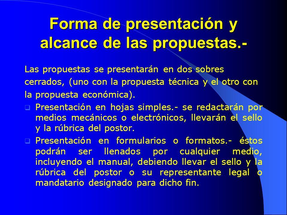 Forma de presentación y alcance de las propuestas.-