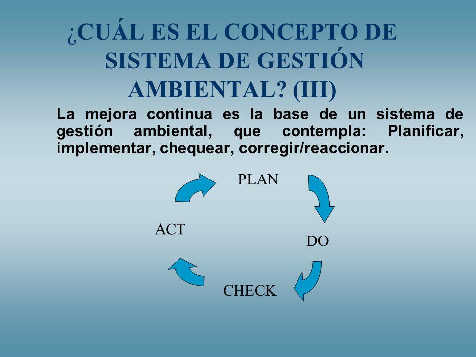¿CUÁL ES EL CONCEPTO DE SISTEMA DE GESTIÓN AMBIENTAL (III)
