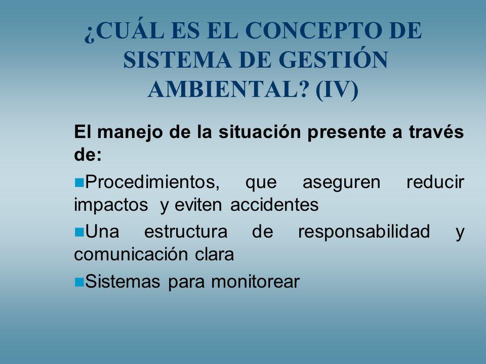 ¿CUÁL ES EL CONCEPTO DE SISTEMA DE GESTIÓN AMBIENTAL (IV)