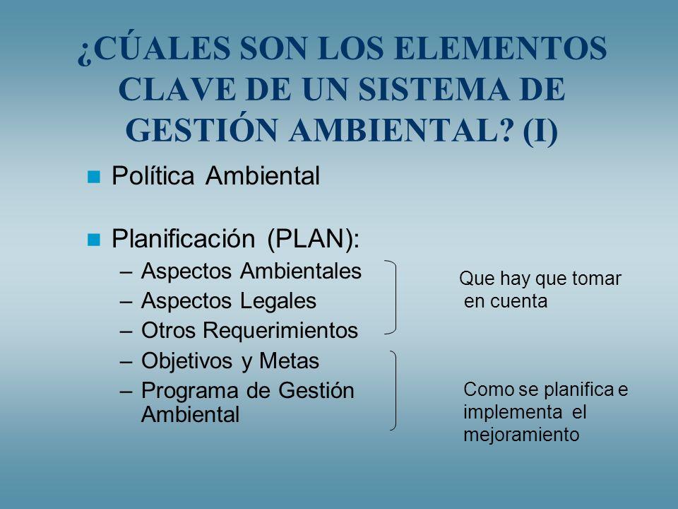 ¿CÚALES SON LOS ELEMENTOS CLAVE DE UN SISTEMA DE GESTIÓN AMBIENTAL (I)