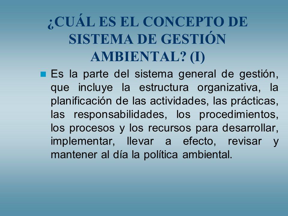 ¿CUÁL ES EL CONCEPTO DE SISTEMA DE GESTIÓN AMBIENTAL (I)