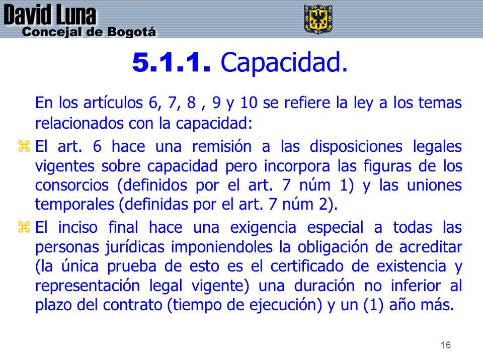 5.1.1. Capacidad.En los artículos 6, 7, 8 , 9 y 10 se refiere la ley a los temas relacionados con la capacidad: