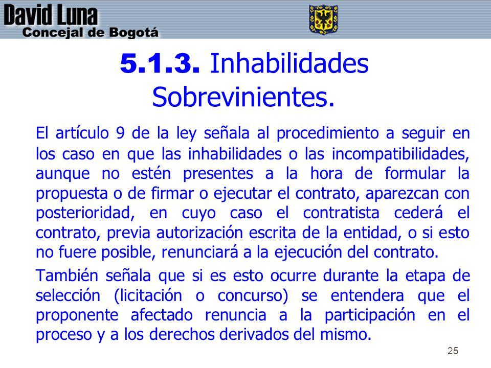 5.1.3. Inhabilidades Sobrevinientes.