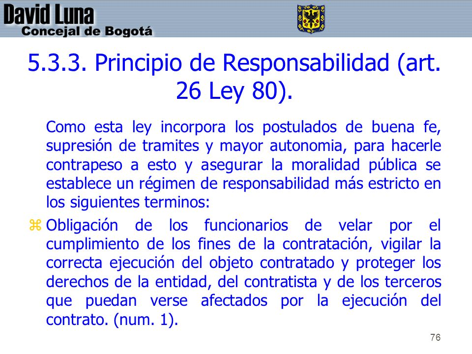 5.3.3. Principio de Responsabilidad (art. 26 Ley 80).