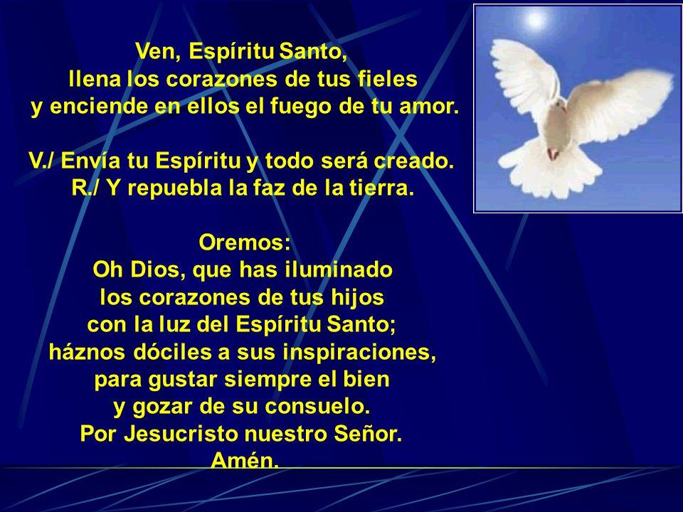 Ven, Espíritu Santo, llena los corazones de tus fieles y enciende en ellos el fuego de tu amor.