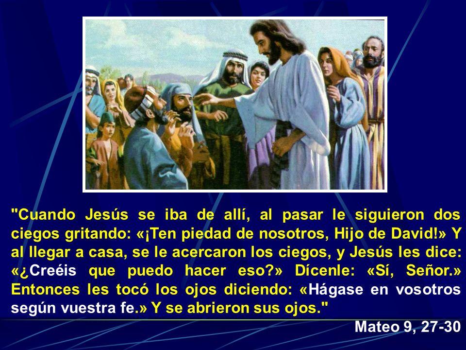 Cuando Jesús se iba de allí, al pasar le siguieron dos ciegos gritando: «¡Ten piedad de nosotros, Hijo de David!» Y al llegar a casa, se le acercaron los ciegos, y Jesús les dice: «¿Creéis que puedo hacer eso » Dícenle: «Sí, Señor.» Entonces les tocó los ojos diciendo: «Hágase en vosotros según vuestra fe.» Y se abrieron sus ojos.