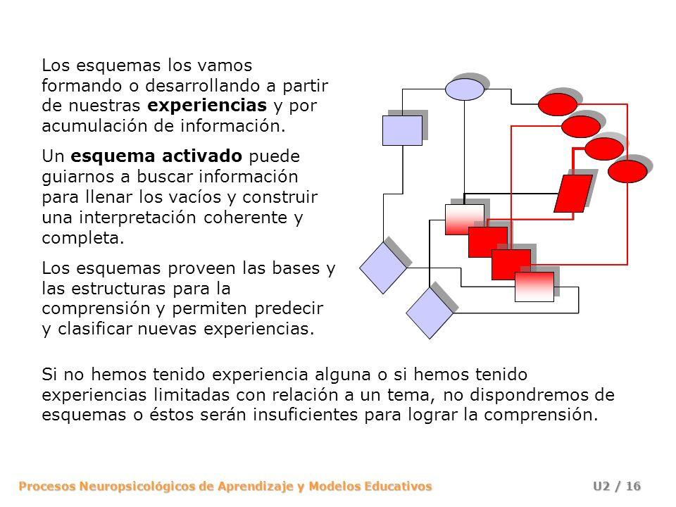 Los esquemas los vamos formando o desarrollando a partir de nuestras experiencias y por acumulación de información.