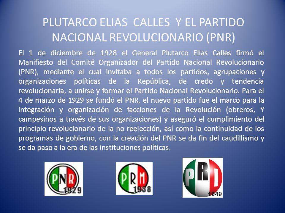 PLUTARCO ELIAS CALLES Y EL PARTIDO NACIONAL REVOLUCIONARIO (PNR)