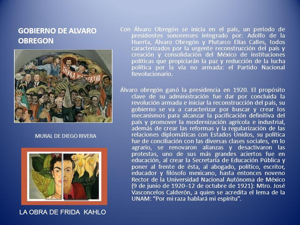 GOBIERNO DE ALVARO OBREGON