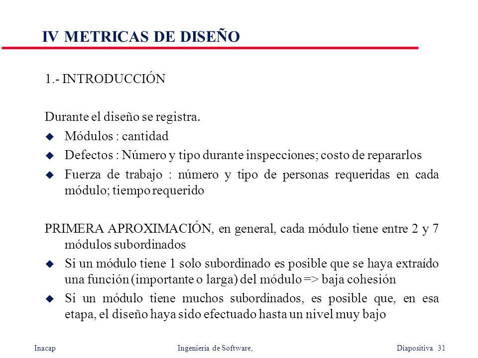 IV METRICAS DE DISEÑO 1.- INTRODUCCIÓN Durante el diseño se registra.