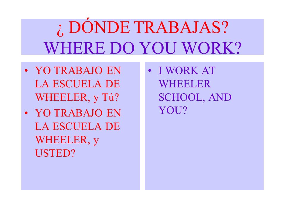 ¿ DÓNDE TRABAJAS WHERE DO YOU WORK