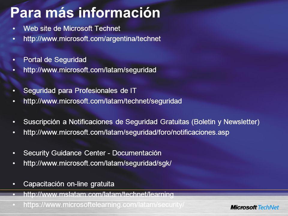 Para más información Web site de Microsoft Technet