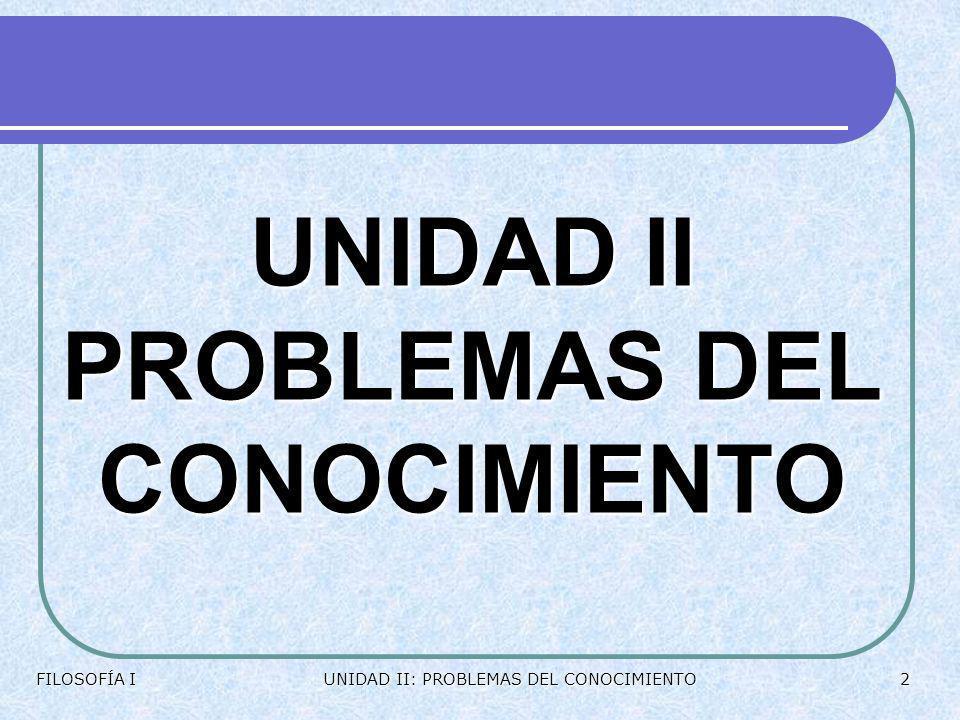UNIDAD II PROBLEMAS DEL CONOCIMIENTO