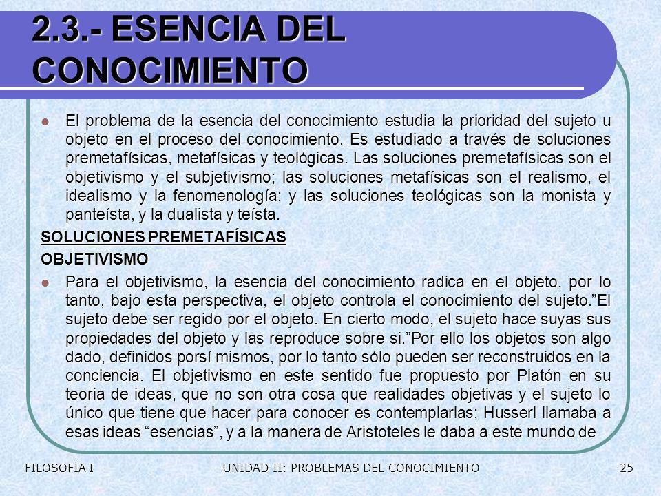 2.3.- ESENCIA DEL CONOCIMIENTO