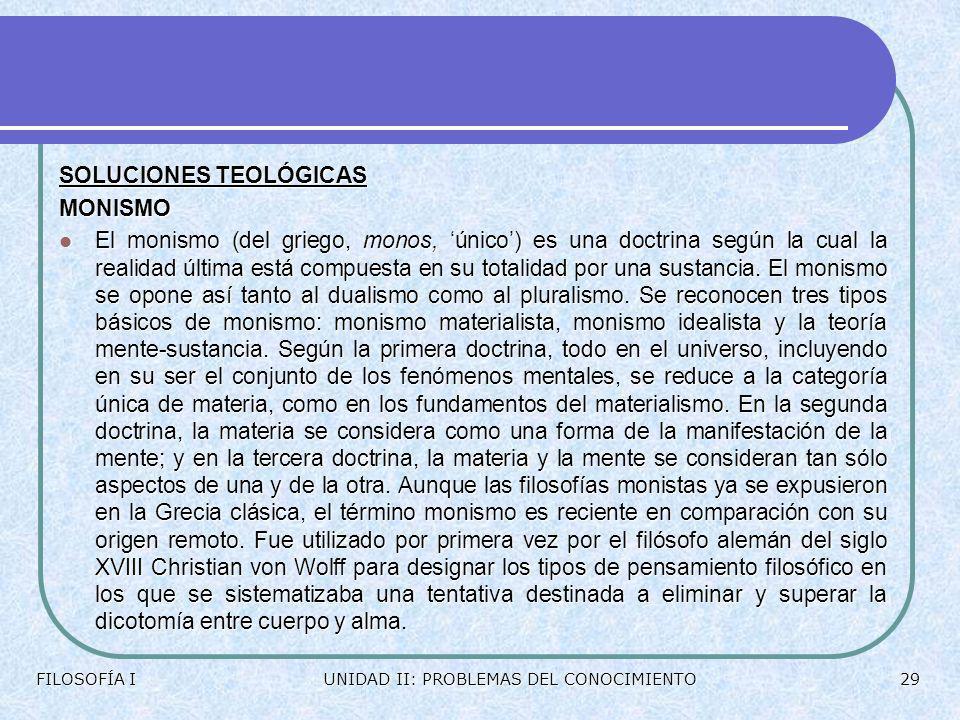 SOLUCIONES TEOLÓGICAS MONISMO