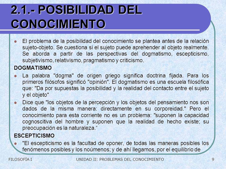 2.1.- POSIBILIDAD DEL CONOCIMIENTO