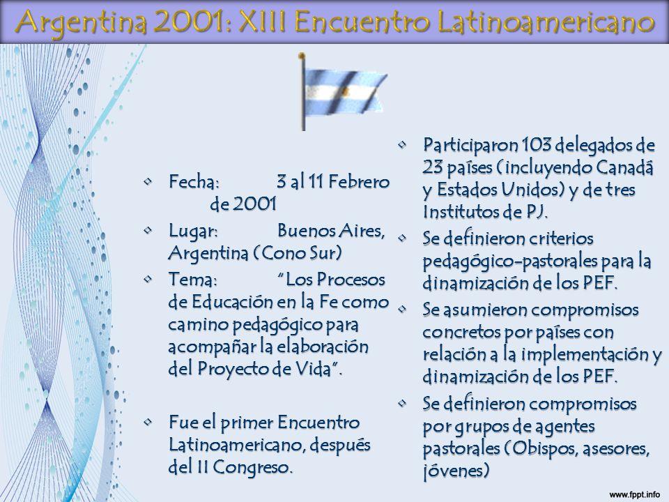 Argentina 2001: XIII Encuentro Latinoamericano