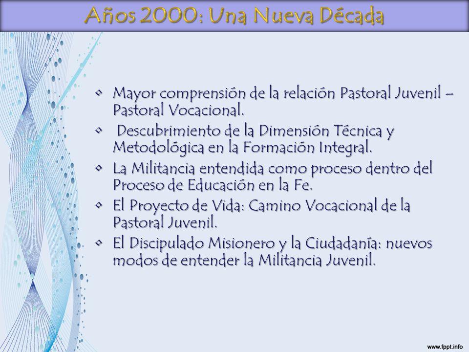Años 2000: Una Nueva Década Mayor comprensión de la relación Pastoral Juvenil – Pastoral Vocacional.