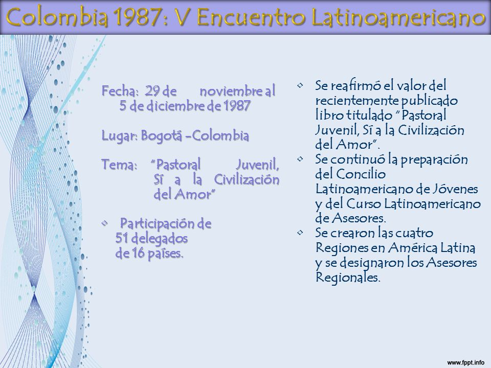 Colombia 1987: V Encuentro Latinoamericano