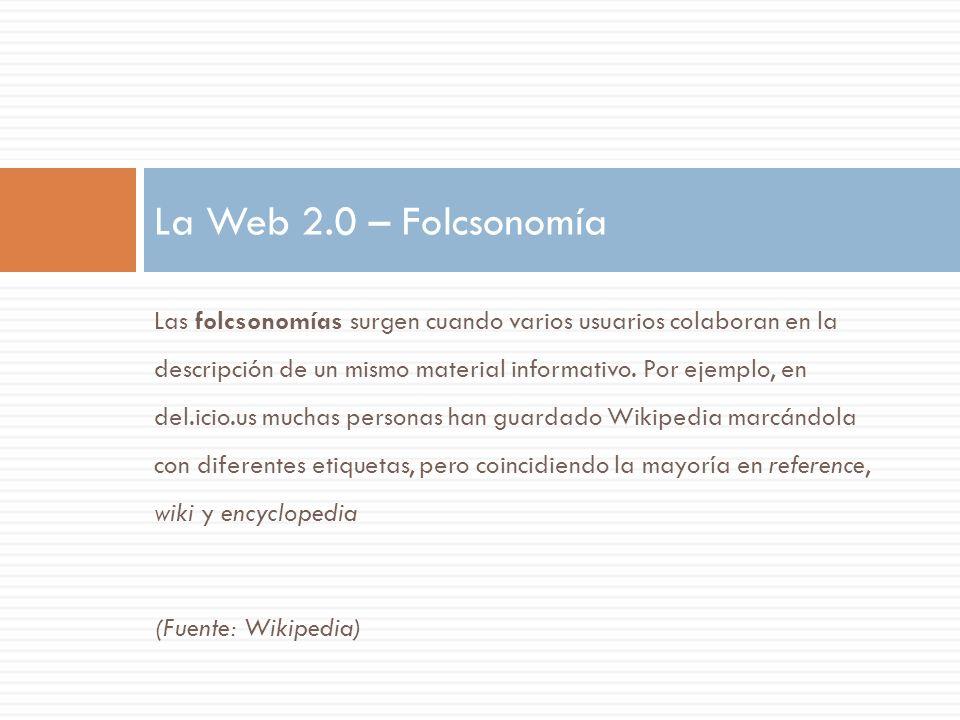 La Web 2.0 – Folcsonomía