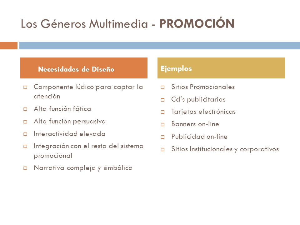 Los Géneros Multimedia - PROMOCIÓN