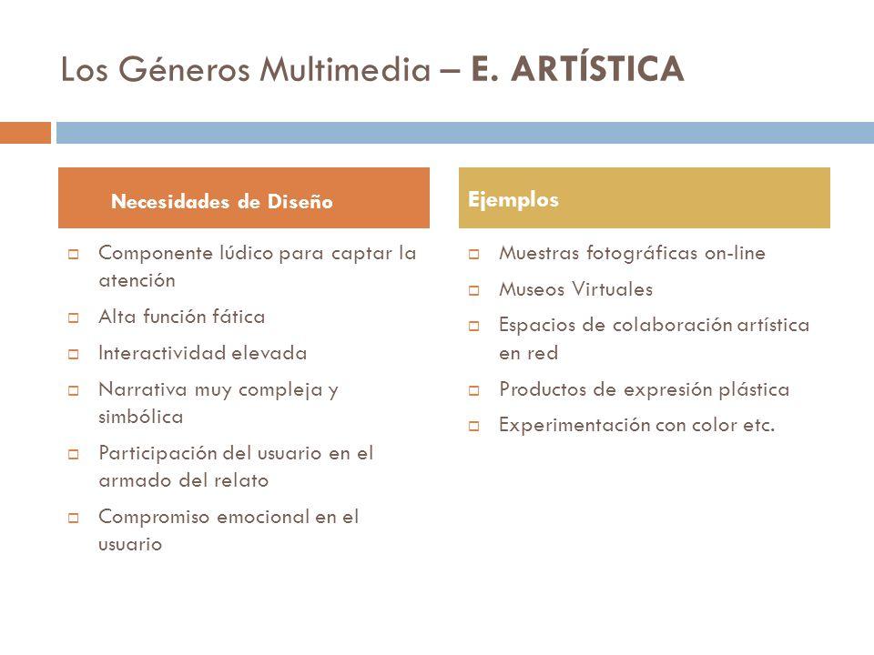 Los Géneros Multimedia – E. ARTÍSTICA