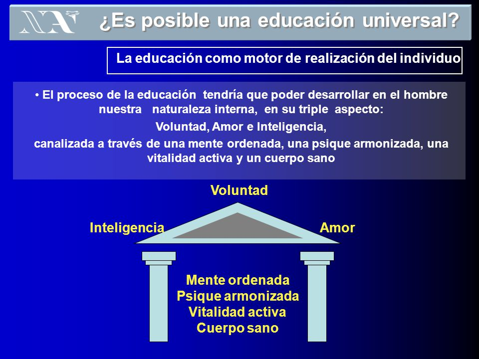 ¿Es posible una educación universal Voluntad, Amor e Inteligencia,