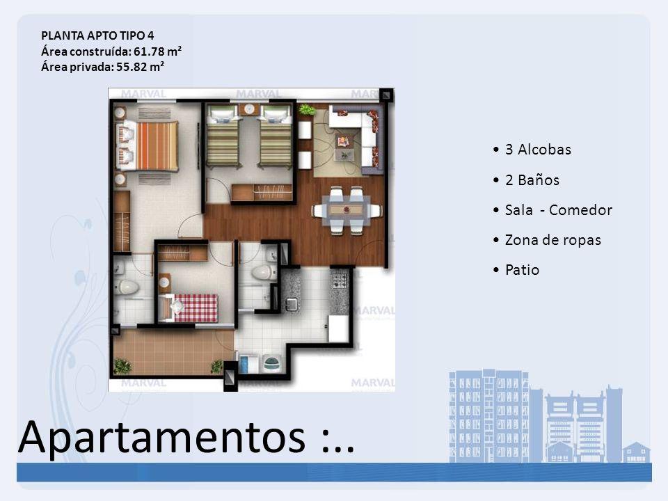 Apartamentos :.. 3 Alcobas 2 Baños Sala - Comedor Zona de ropas Patio