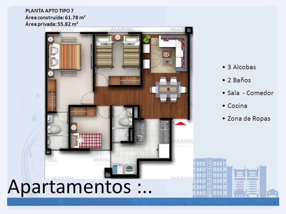 Apartamentos :.. 3 Alcobas 2 Baños Sala - Comedor Cocina Zona de Ropas