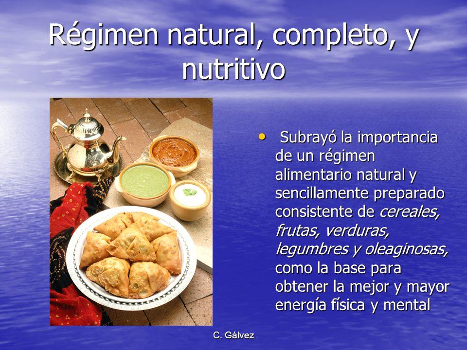 Régimen natural, completo, y nutritivo