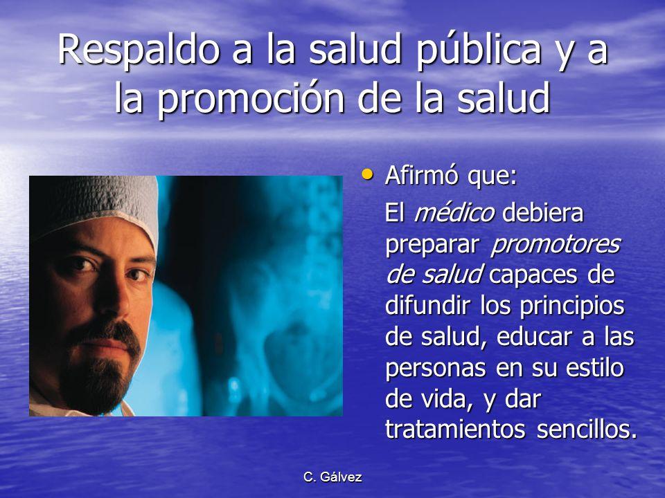 Respaldo a la salud pública y a la promoción de la salud