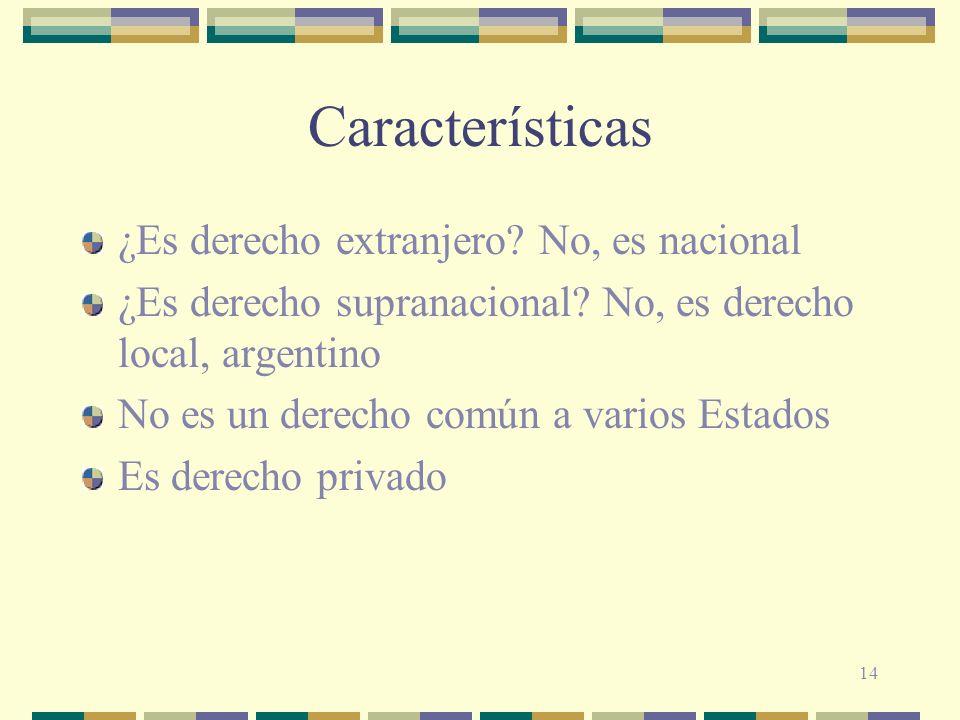Características ¿Es derecho extranjero No, es nacional