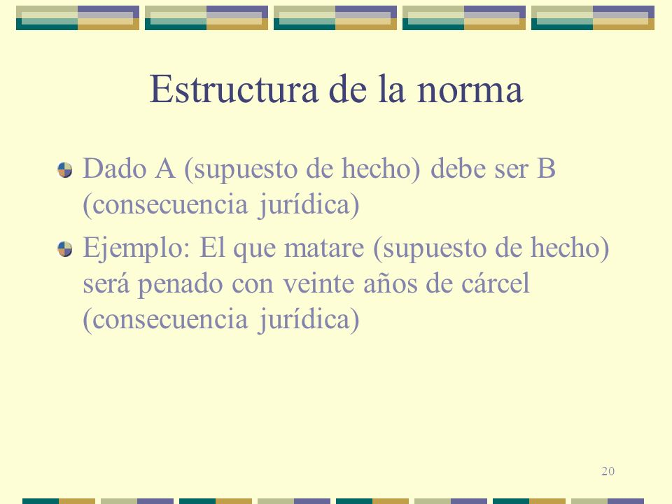 Estructura de la norma Dado A (supuesto de hecho) debe ser B (consecuencia jurídica)