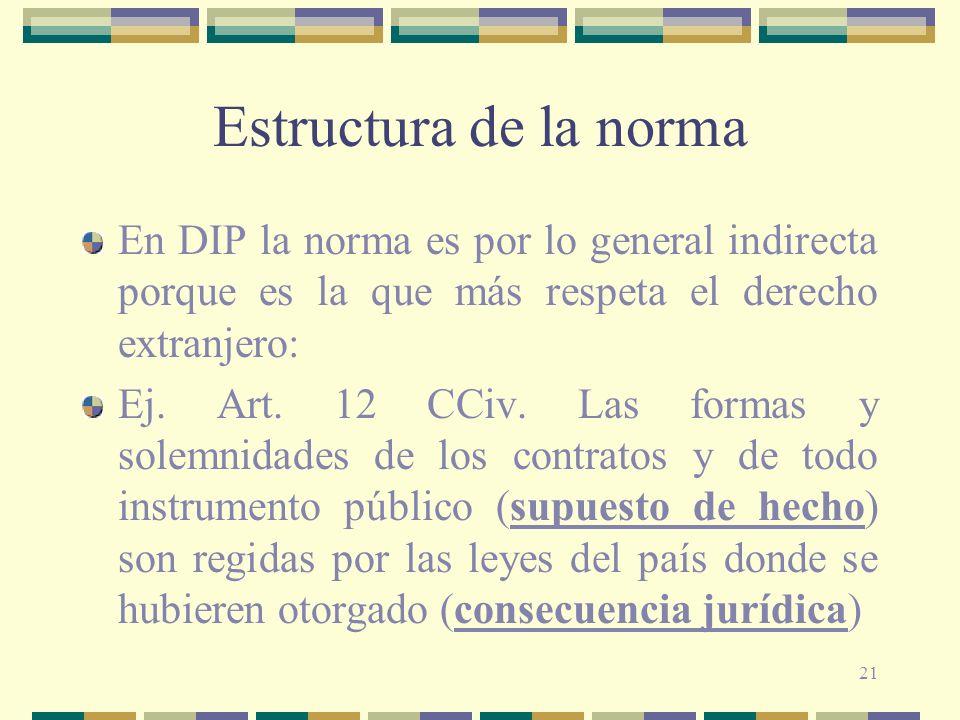 Estructura de la norma En DIP la norma es por lo general indirecta porque es la que más respeta el derecho extranjero: