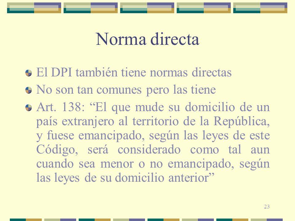 Norma directa El DPI también tiene normas directas