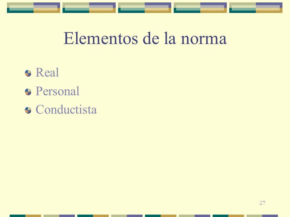 Elementos de la norma Real Personal Conductista