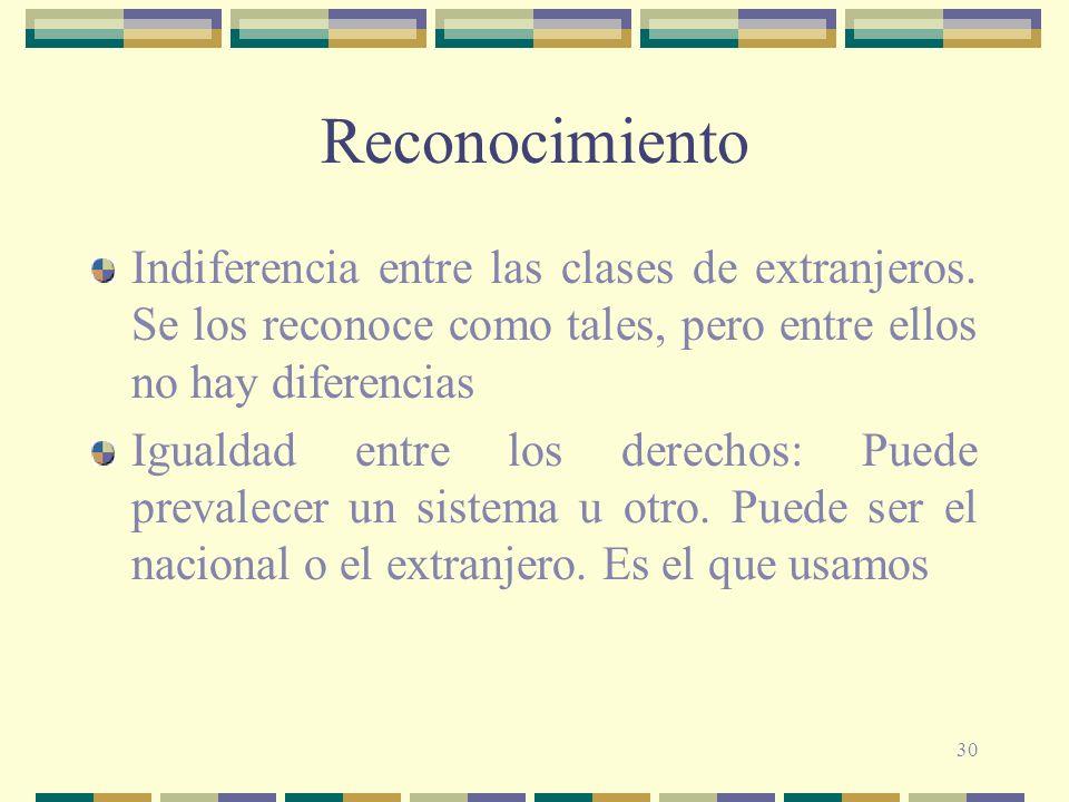 Reconocimiento Indiferencia entre las clases de extranjeros. Se los reconoce como tales, pero entre ellos no hay diferencias.