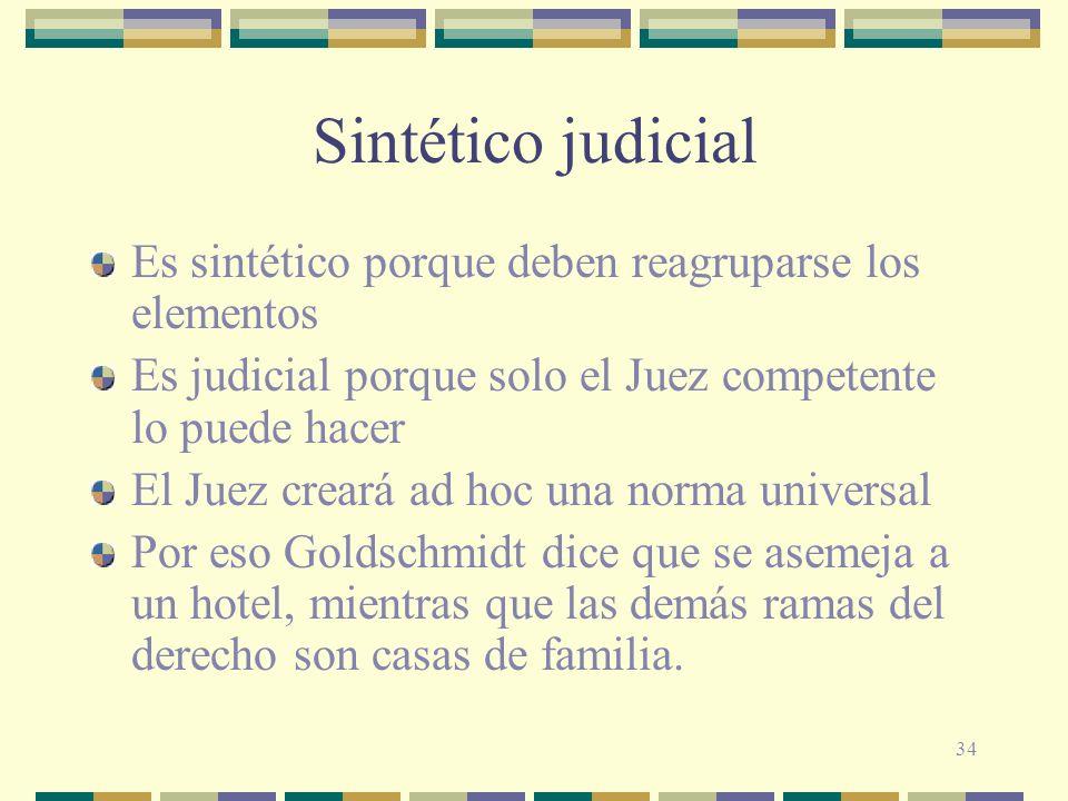 Sintético judicial Es sintético porque deben reagruparse los elementos