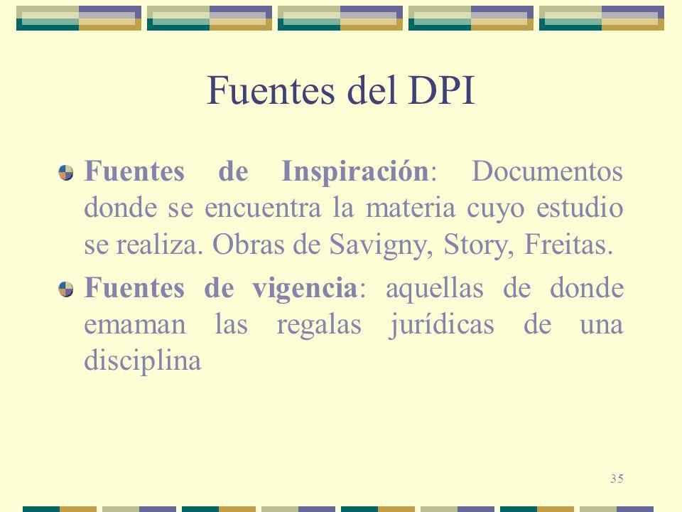 Fuentes del DPI Fuentes de Inspiración: Documentos donde se encuentra la materia cuyo estudio se realiza. Obras de Savigny, Story, Freitas.